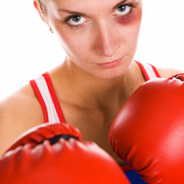"""""""Woman boxer with a bruise on her face"""" stock image"""