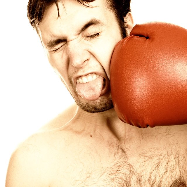 """Funny young boxer (toned in sepia)"" stock image"