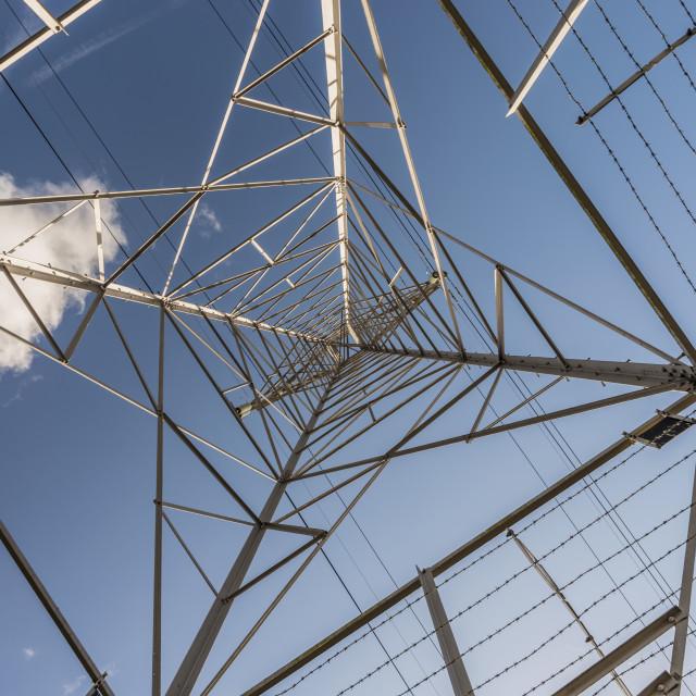 """Through an Electricity Pylon"" stock image"