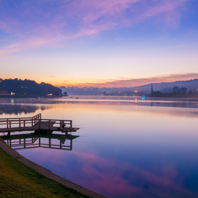 """Sunrise at Xuan Huong lake , Dalat"" stock image"
