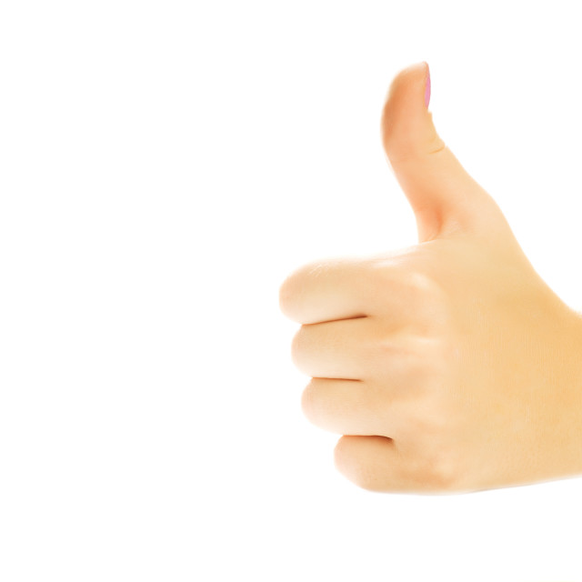 """""""Human hand showing thumb up. Isolated on white background"""" stock image"""