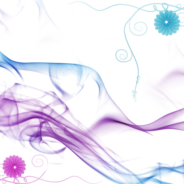 """Colorful smoke and floral pattern"" stock image"
