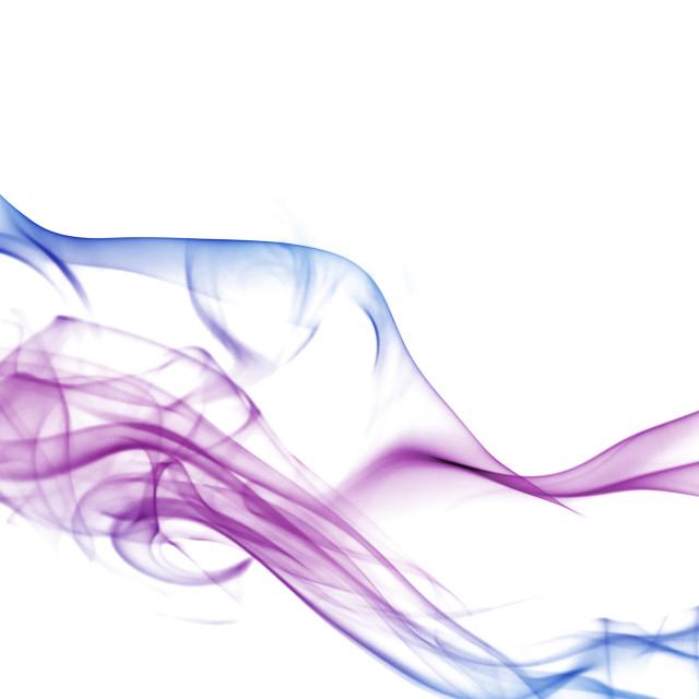 """Colorful smoke on white background"" stock image"