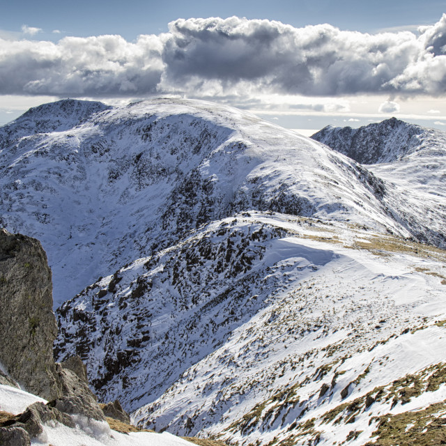 """Coniston Old Man in Snow"" stock image"
