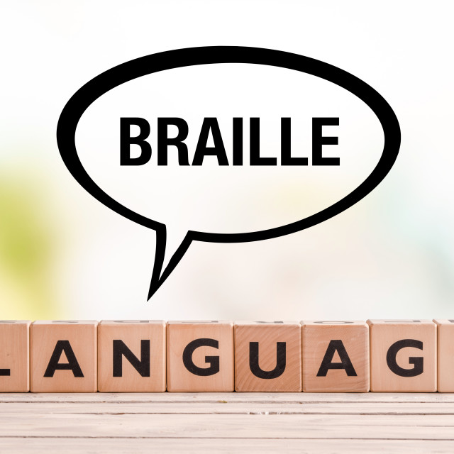 """""""Braille language lesson sign on a table"""" stock image"""