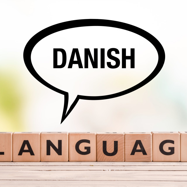 """""""Danish language lesson sign on a table"""" stock image"""
