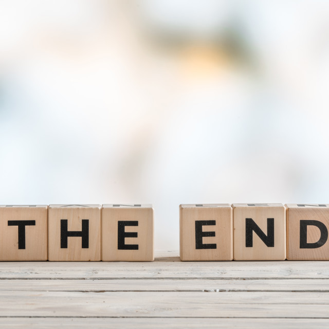 """The end sign with wooden blocks"" stock image"