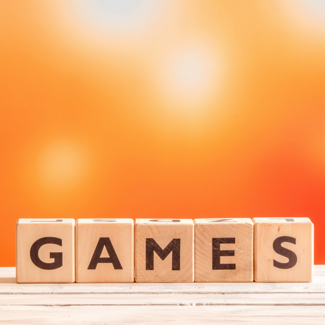 """Games word on wooden cubes"" stock image"