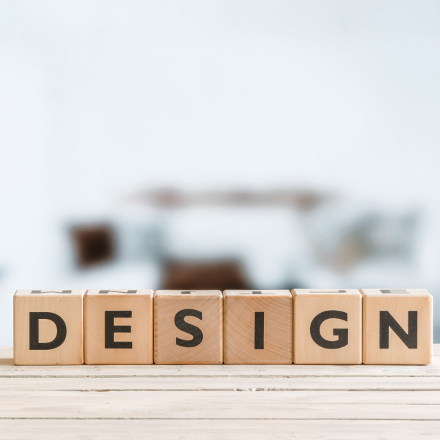 """Design word on wooden cubes"" stock image"