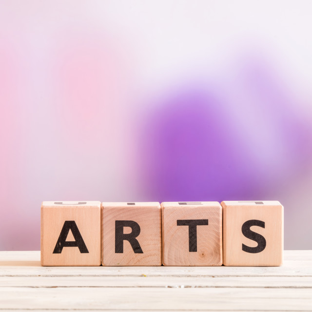 """""""Arts sign on a wooden table"""" stock image"""