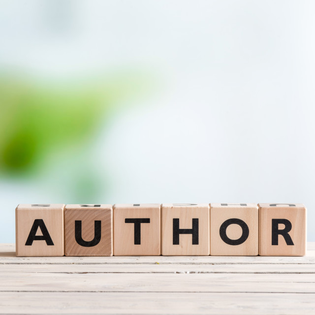 """""""Author sign on a wooden desk"""" stock image"""