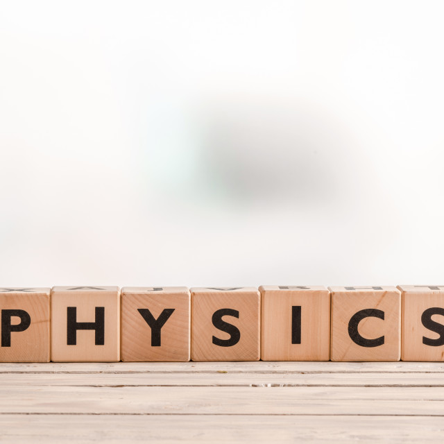 """""""Physics sign on a desk"""" stock image"""