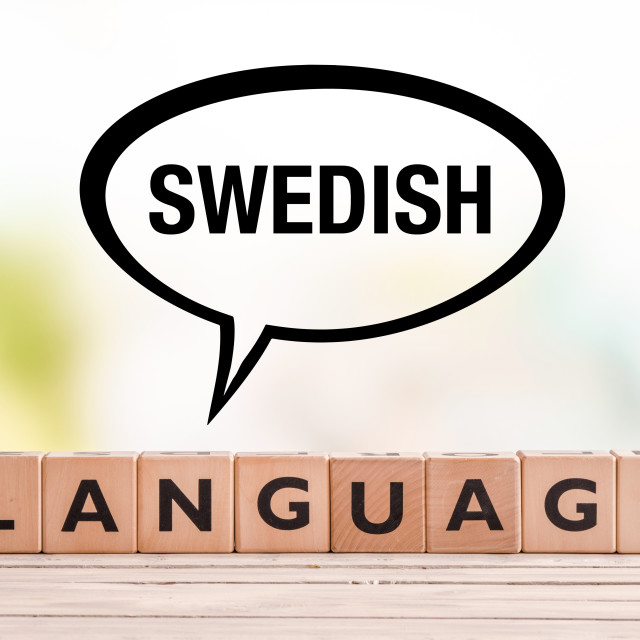 """""""Swedish language lesson sign on a table"""" stock image"""