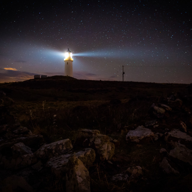 """Mull of Galloway Lighthouse at Night"" stock image"