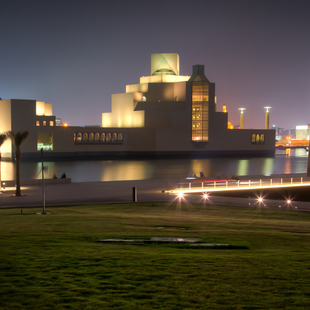 """Museum of Islamic Art at night"" stock image"