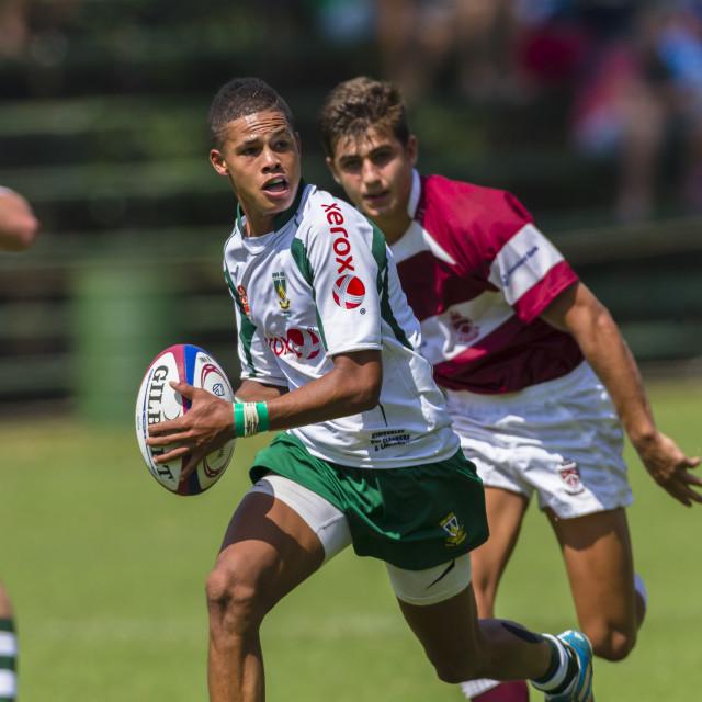 """""""HoerSkool Noord Kaap v v Kearsney Rugby Festival Action"""" stock image"""