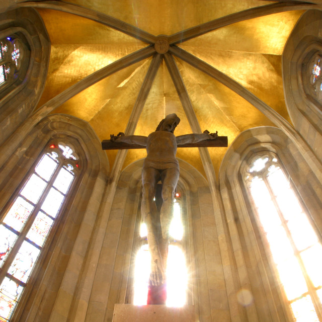 """Jesus on the cross, Zagreb - St. Mark church"" stock image"