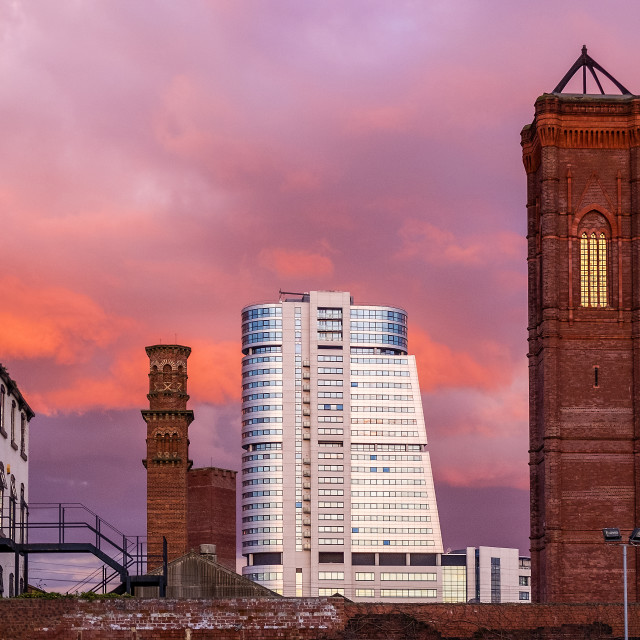 """""""Leeds Bridgewater Place and Tower Works."""" stock image"""