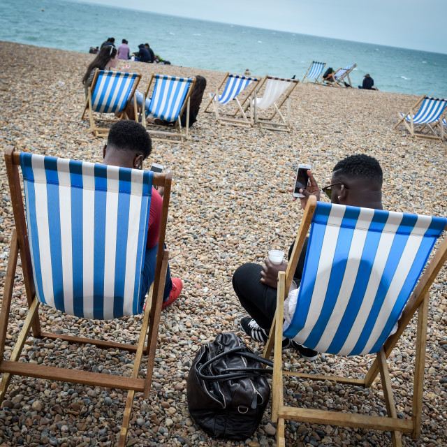 """Deckchairs Brighton"" stock image"