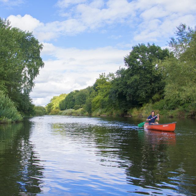"""Canoeing down the River Severn"" stock image"