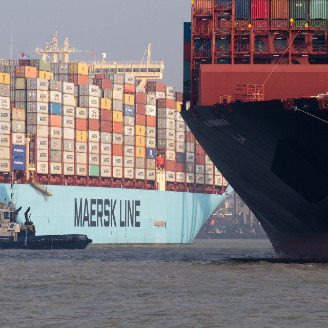 """Maersk containership arriving Felixstowe"" stock image"