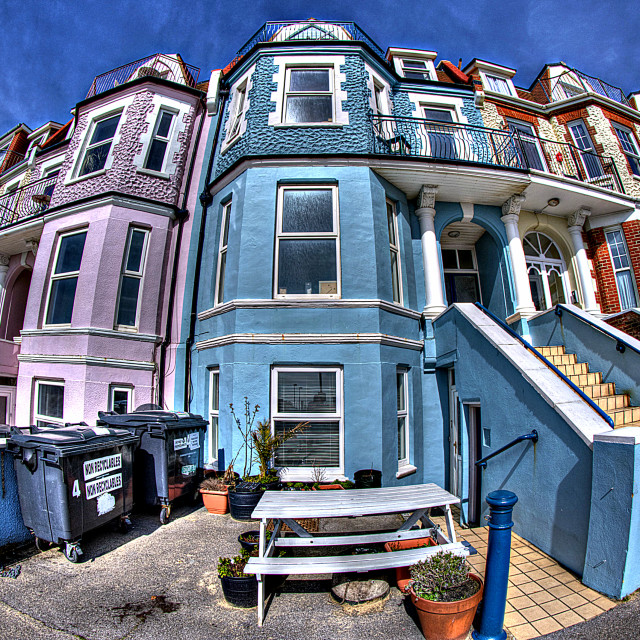 """""""Blue House at Boscombe"""" stock image"""
