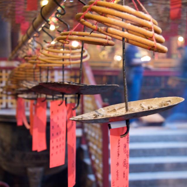 """""""Incense at the Man Mo Temple, Hong Kong"""" stock image"""