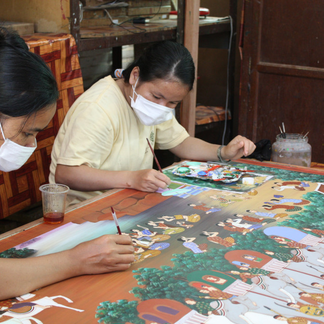 """Silk painting in Angkor, Cambodia"" stock image"