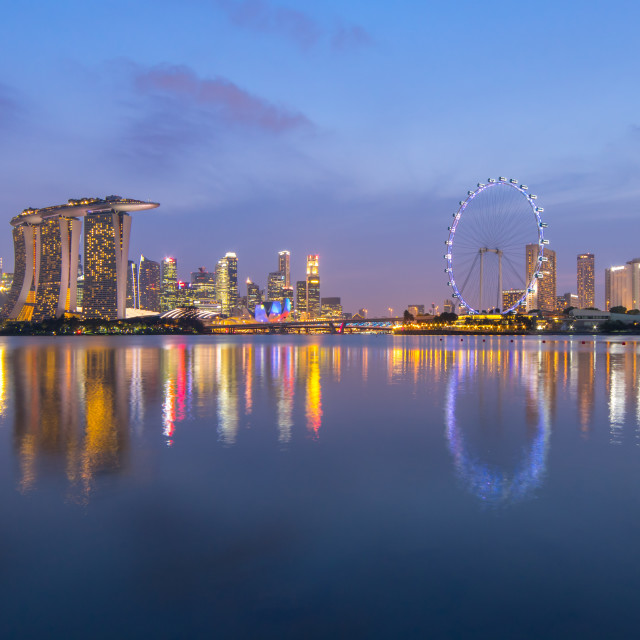 """""""Singapore city night view with reflection"""" stock image"""
