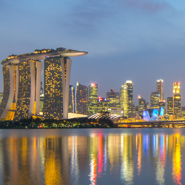 """Marina Bay Singapore at dusk"" stock image"