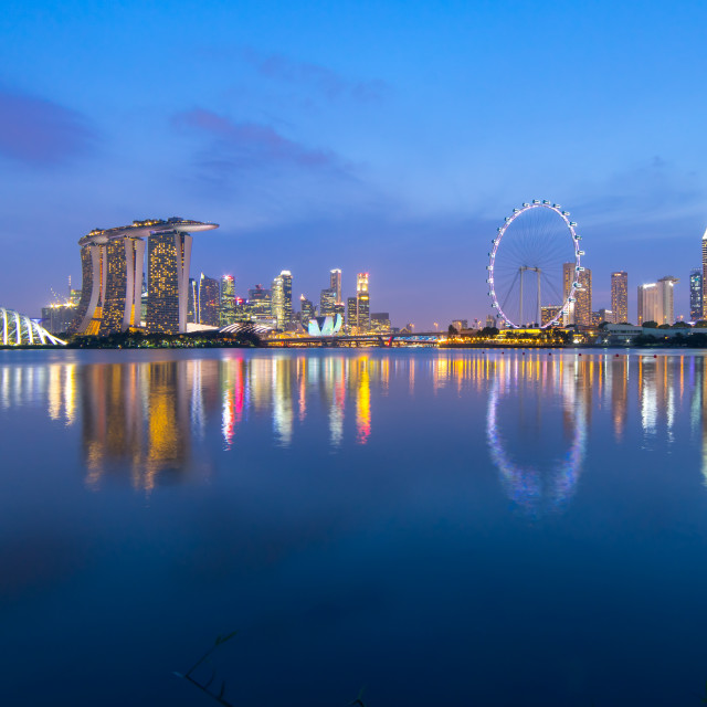 """""""Blue hour at Singapore city skyline with reflection"""" stock image"""