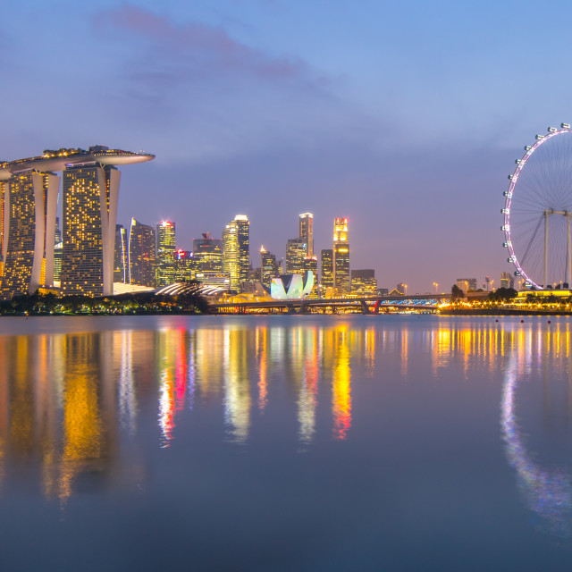 """Singapore City Skyline at Marina Bay during sunset"" stock image"