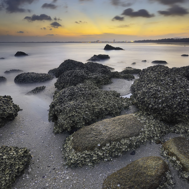 """""""Sunset with rock at Beach"""" stock image"""