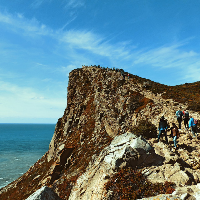 """""""Cliff Side and People"""" stock image"""