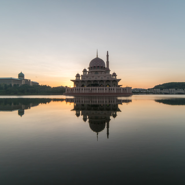 """Majestic Sunrise at Putra Mosque, Putrajaya Malaysia during part"" stock image"