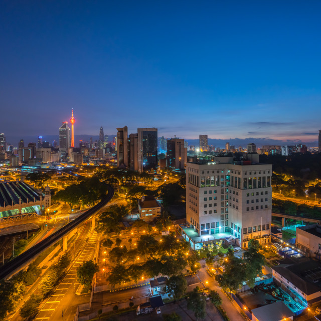 """Blue Hour at Kuala Lumpur city aerial view"" stock image"
