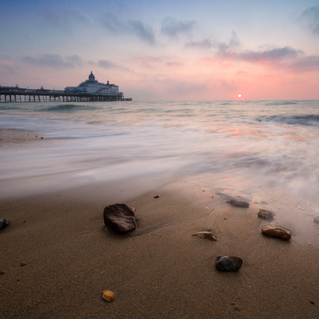 """Eastbourne pier sunrise"" stock image"