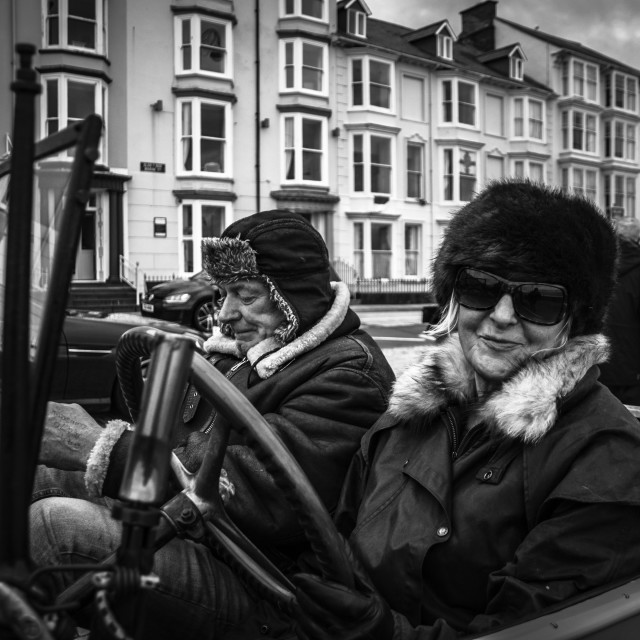 """""""Vintage Car Rally In Aberystwyth"""" stock image"""