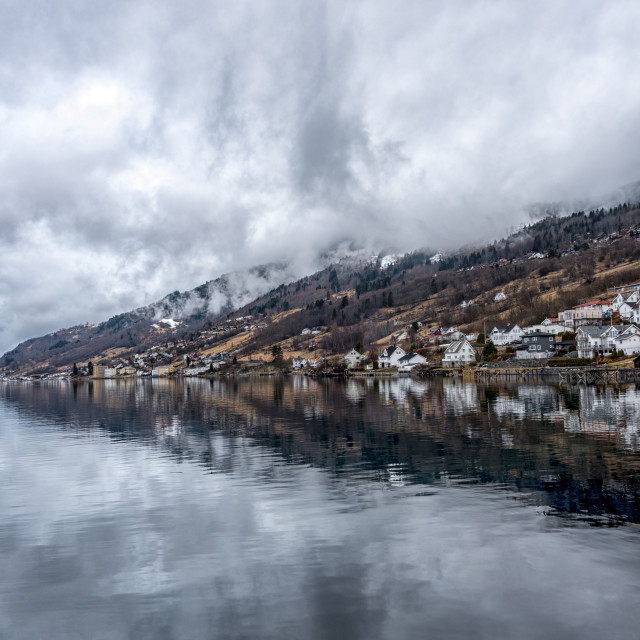 """""""Remote village by fjord"""" stock image"""