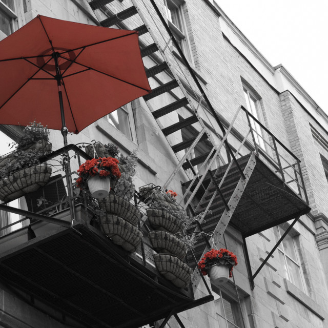 """""""Balcony in red"""" stock image"""