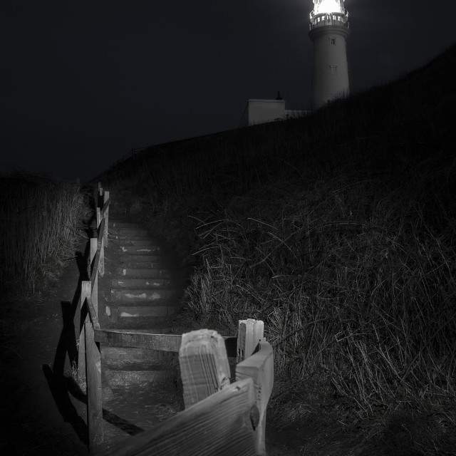 """Flamborough Lightouse at night"" stock image"