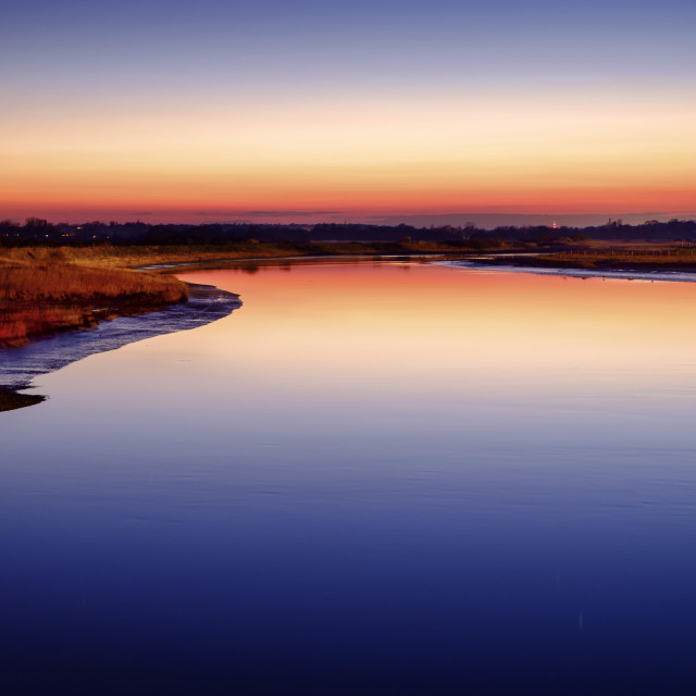 """Sunset over the river"" stock image"