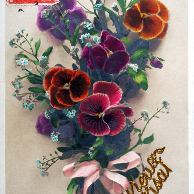 """old postcard of flowers to wish a happy birthday"" stock image"