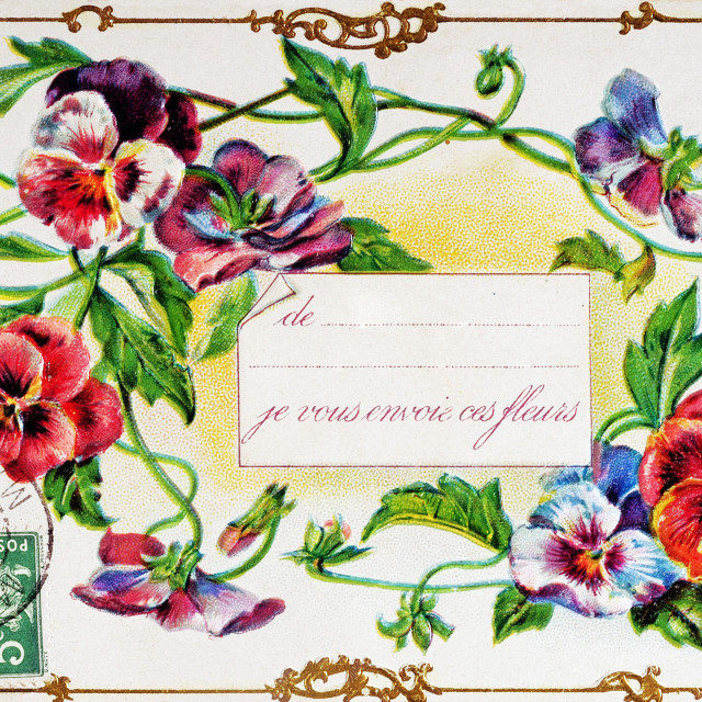 """old postcard for flower for all occasions"" stock image"