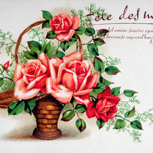 """old postcard with a bouquet of roses"" stock image"