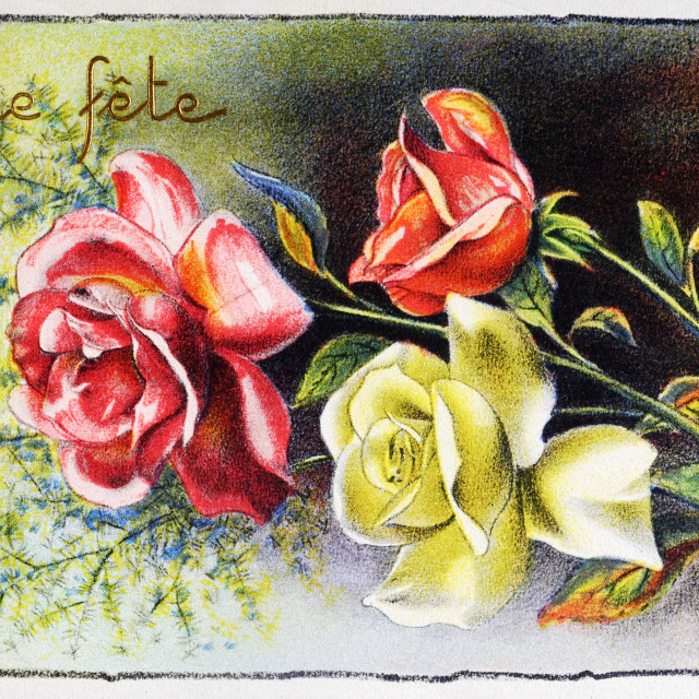 """old postcard with a bouquet of roses to wish happy feast"" stock image"