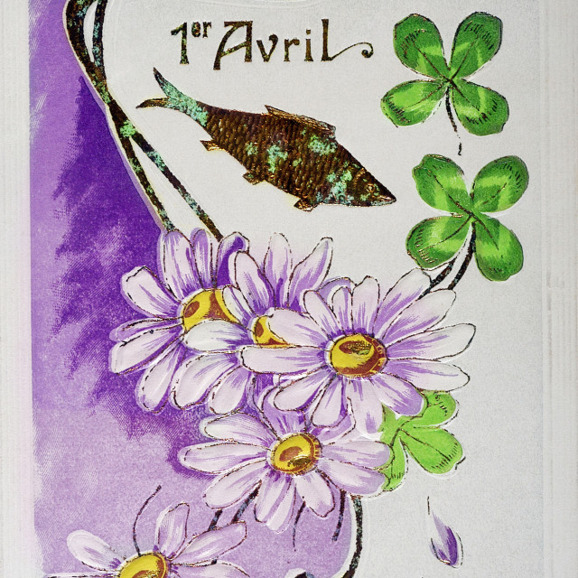 """""""old postcard with a bouquet of flowers with a fish for April 1"""" stock image"""