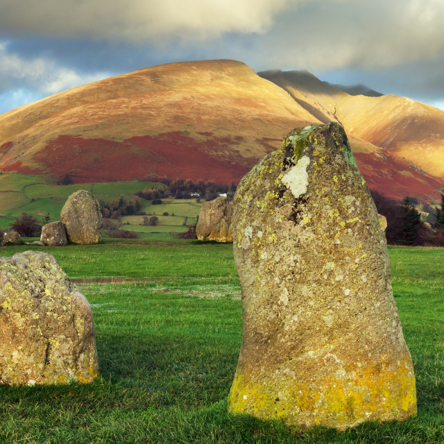 """""""Late afternoon sun at Castlerigg"""" stock image"""