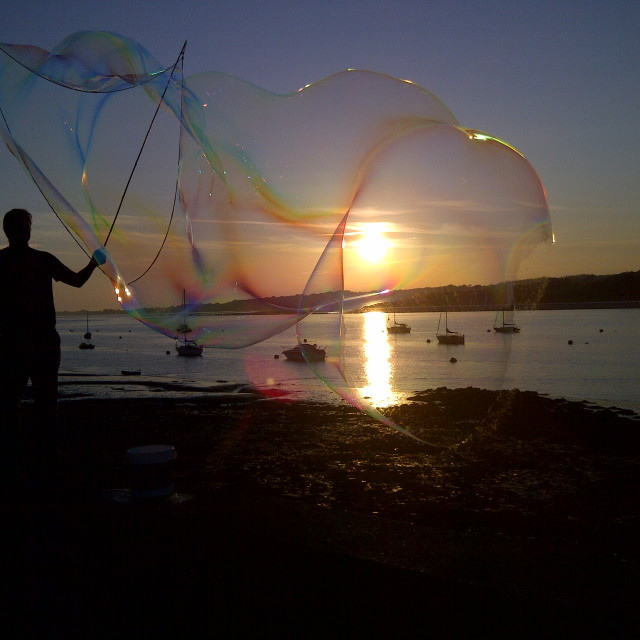 """Sunset bubbles"" stock image"