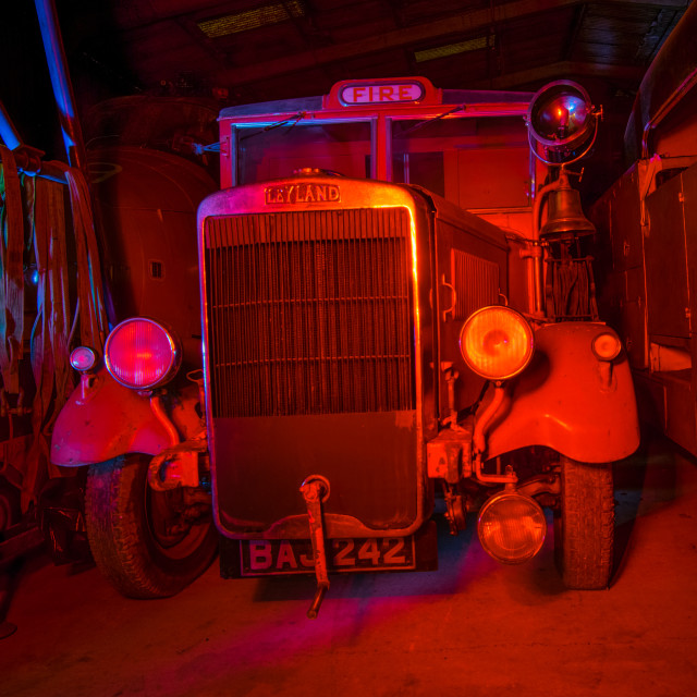 """""""vintage Fire engine bathed in red light"""" stock image"""
